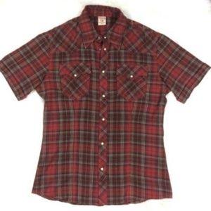 True Religion Plaid Flannel Shirt Short Sleeve